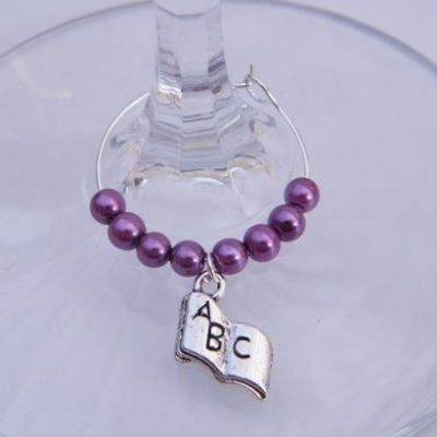 ABC Book Wine Glass Charm - Beaded Style